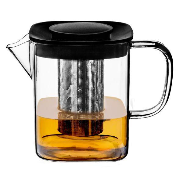 MILBO Dzbanek z zaparzaczem do kawy i herbaty o kwadratowej podstawie 0,6 l