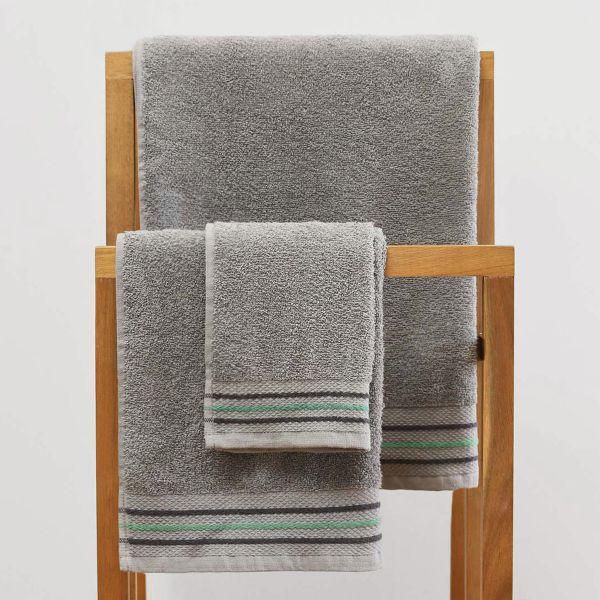 OCTOPUS Ręcznik bawełniany z lamówką szary 50x90 cm