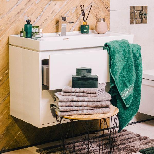 DUKE Ręcznik z paskami lureksowymi zielony 70x130 cm