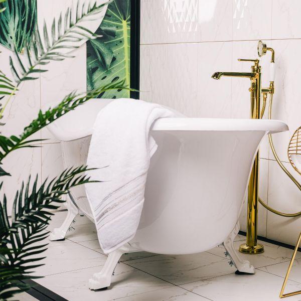 DUKE Ręcznik z paskami lureksowymi biały 70x130 cm