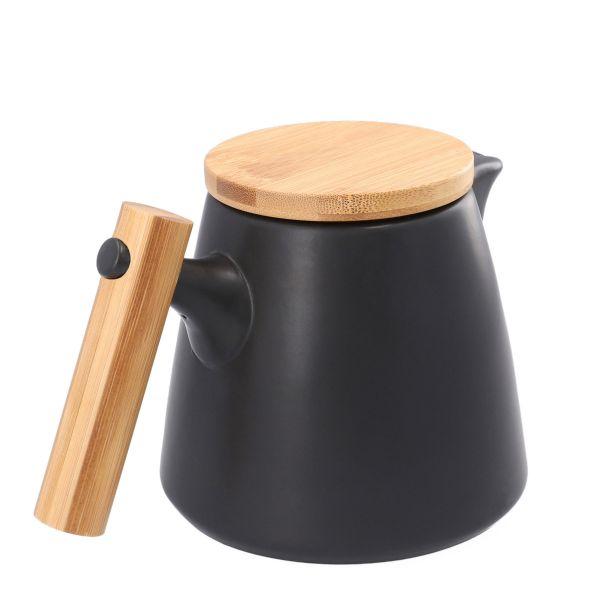 LARRA Dzbanek z zaparzaczem z drewniana rączką czarny 1 l