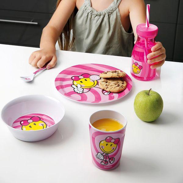 ZAK!DESIGNS Butelka ze słomką dla dziewczynki Smiley Kid 0,36l
