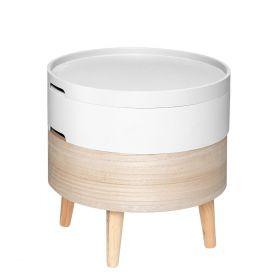 COFFRE Stolik kawowy okrągły biały 40x40 cm