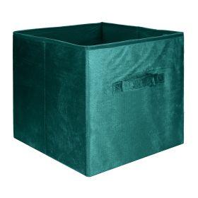 LENNY Kosz do przechowywania zielony welwetowy 31x31 cm