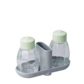 FACKELMANN Zestaw solniczka i pieprzniczka wraz z pojemnikiem na wykałaczki 8cm