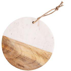 MARBLE Deska z marmuru i drewna mango okrągła biała 25 cm