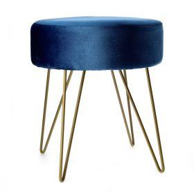 ARLES Taboret welurowy niebieski 35x40 cm