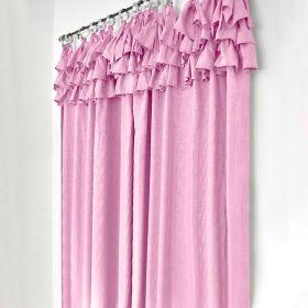 ANISSA Zasłona bawełniana z falbanką różowa 145x250 cm