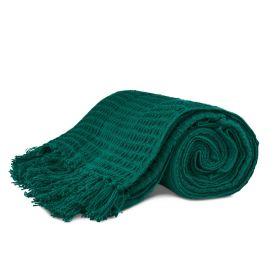 VAFFEL Pled bawełniany zielony 130x170 cm