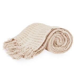 VAFFEL Pled bawełniany ecru 130x170 cm