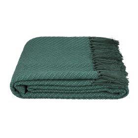 MORRIS Pled z frędzlami zielony 130x170 cm