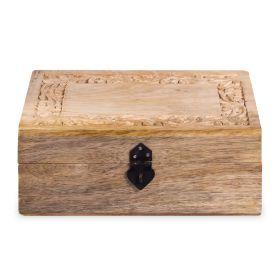SOMBRE Szkatułka drewniana żłobiona 25x18x10 cm