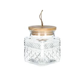 NATURAL MOOD Pojemnik szklany z drewnianą pokrywą 1 l