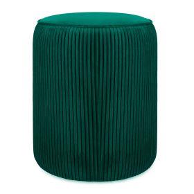 CAFFI Puf prążkowany zielony 38x43 cm