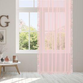 SUZIE Firanka z falbaną różowa 140x250 cm