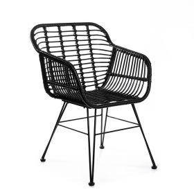 JARDIN Krzesło plecione czarne 56x58x82 cm