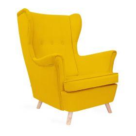 FOSSBY Fotel welurowy musztardowy 83x55x102 cm