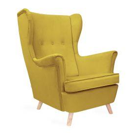 FOSSBY Fotel welurowy oliwkowy 83x55x102 cm