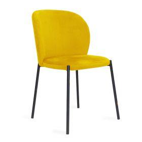 MALOY Krzesło sztruksowe musztardowe 53x54x84 cm