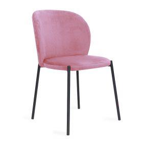 MALOY Krzesło sztruksowe różowe 53x54x84 cm
