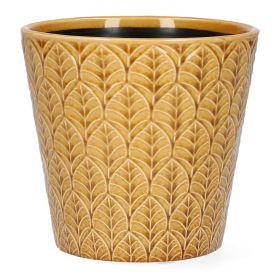 SLANO Osłonka ceramiczna musztardowa 13x13x13 cm