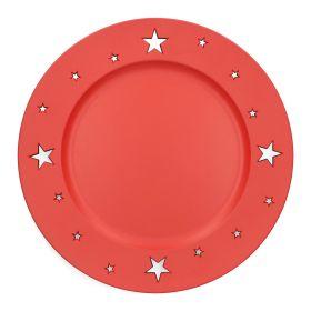 PLAST Taca z gwiazdkami czerwona 33 cm