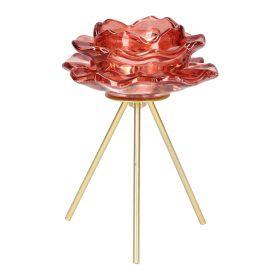 FERIA Świecznik na nóżkach różowy 10x10x14 cm
