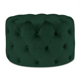 ALESSIA Puf pikowany zielony 50x35 cm