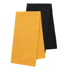 FEMELO Zestaw ścierek kuchennych gładkich: musztardowa + czarna 2*50x70 cm