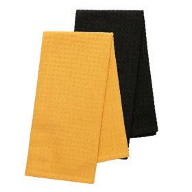 FEMELO Zestaw ścierek kuchennych: musztardowa + czarna 2*50x70 cm