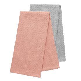 FEMELO Zestaw ścierek kuchennych: szara + różowa 2*50x70 cm