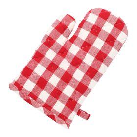 RAISO Rękawica kuchenna w kratę czerwona 16x26 cm