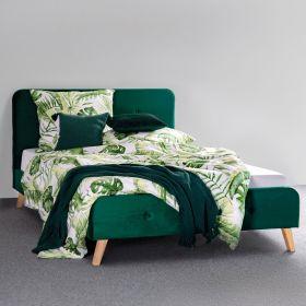 MIKKEL Łózko welurowe zielone 140x200 cm