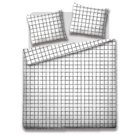 SANGO Komplet pościeli z mikrofibry w kratę 200x220 cm