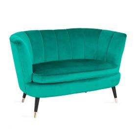 MELBY Sofa welurowa zielona 133x73x73