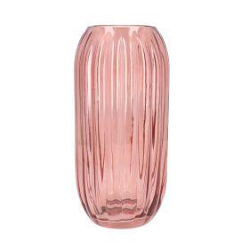 MONE Wazon szklany różowy 12x12x25 cm