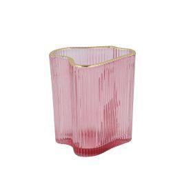 AREUS Lampion szklany różowy 9x7x10 cm