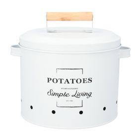 VERDE Pojemnik na ziemniaki biały 23x23 cm