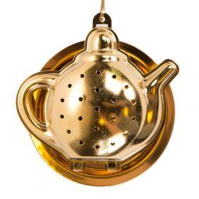 JALO Zaparzacz do herbaty w kształcie imbryka złoty 6x3 cm