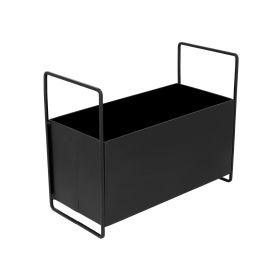 BRIZZLY Prostokątna donica czarna 33x15x26 cm