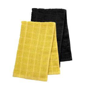 SAMI Zestaw ręczników kuchennych: czarny + musztardowy 2*40x60 cm