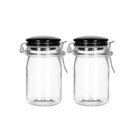 FERSKEN Pojemnik szklany z ceramiczną pokrywką czarny, 2 szt. 12x7 cm