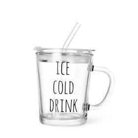 EMBO Szklanka z pokrywka i szklaną słomką COLD DRINK 0,4 l