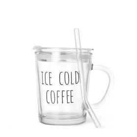 EMBO Szklanka z pokrywka i szklaną słomką COLD COFFEE 0,4 l