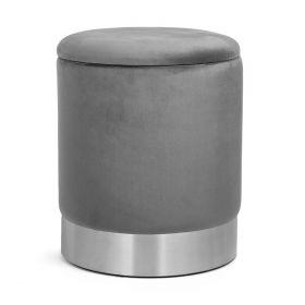 FICA STORAGE Puf ze schowkiem szaro-srebrny 35x42 cm