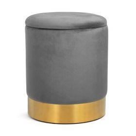 FICA STORAGE Puf ze schowkiem szaro-złoty 35x42 cm