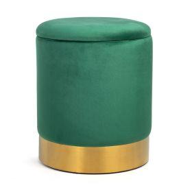 FICA STORAGE Puf ze schowkiem zielono-złoty 35x42 cm