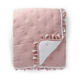 GRANNA Narzuta z frędzlami różowa 200x220 cm