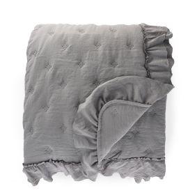 TROSA Narzuta z falbanką szara 200x220 cm