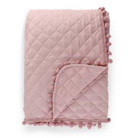 BRENDA Narzuta z pomponami różowa 200x220 cm